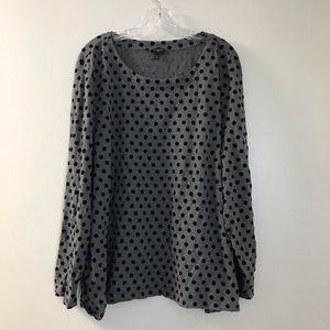 Talbots Womens Top 3X Long Sleeve Gray polka dot